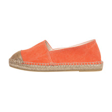 Orange cotton and gold leather espadrilles