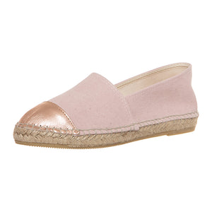 Pink cotton and pink leather espadrilles