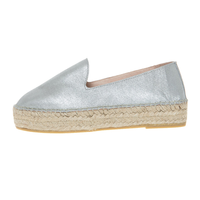 Silver leather platform espadrilles