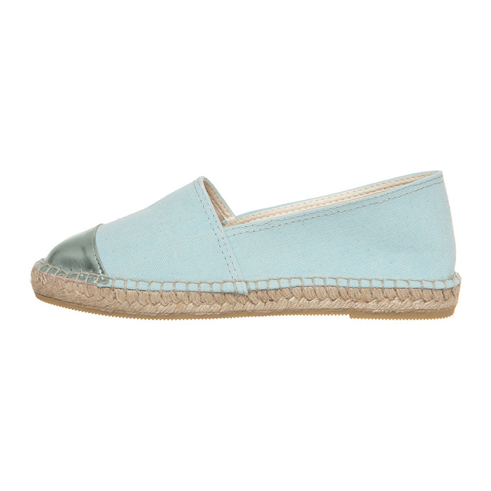 Turquoise cotton and turquoise leather espadrilles
