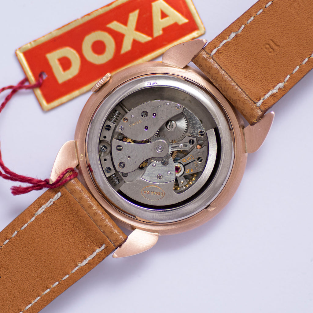 <b>ON HOLD</b> - 1945 Doxa Automatic NOS Teardrop Lugs 14k Rose Gold