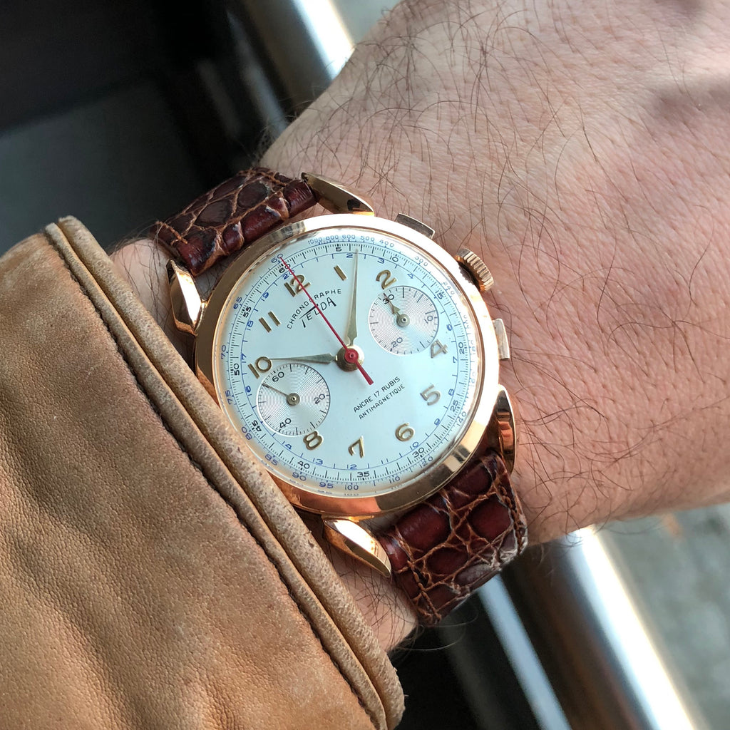 1960s Telda 18k Solid Gold Chronograph Bombay Lugs