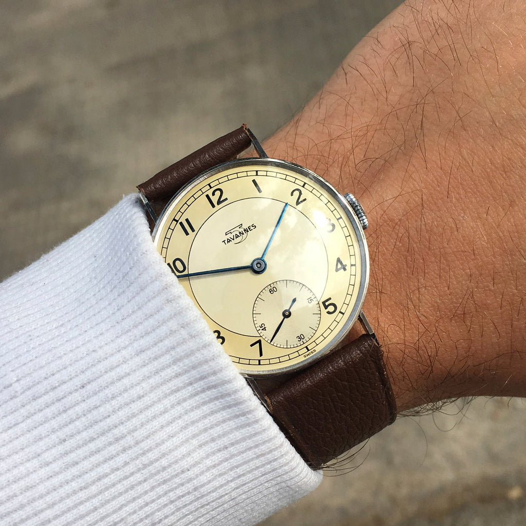 1940s Tavannes 36mm LNOS Two-Tone All Stainless Steel