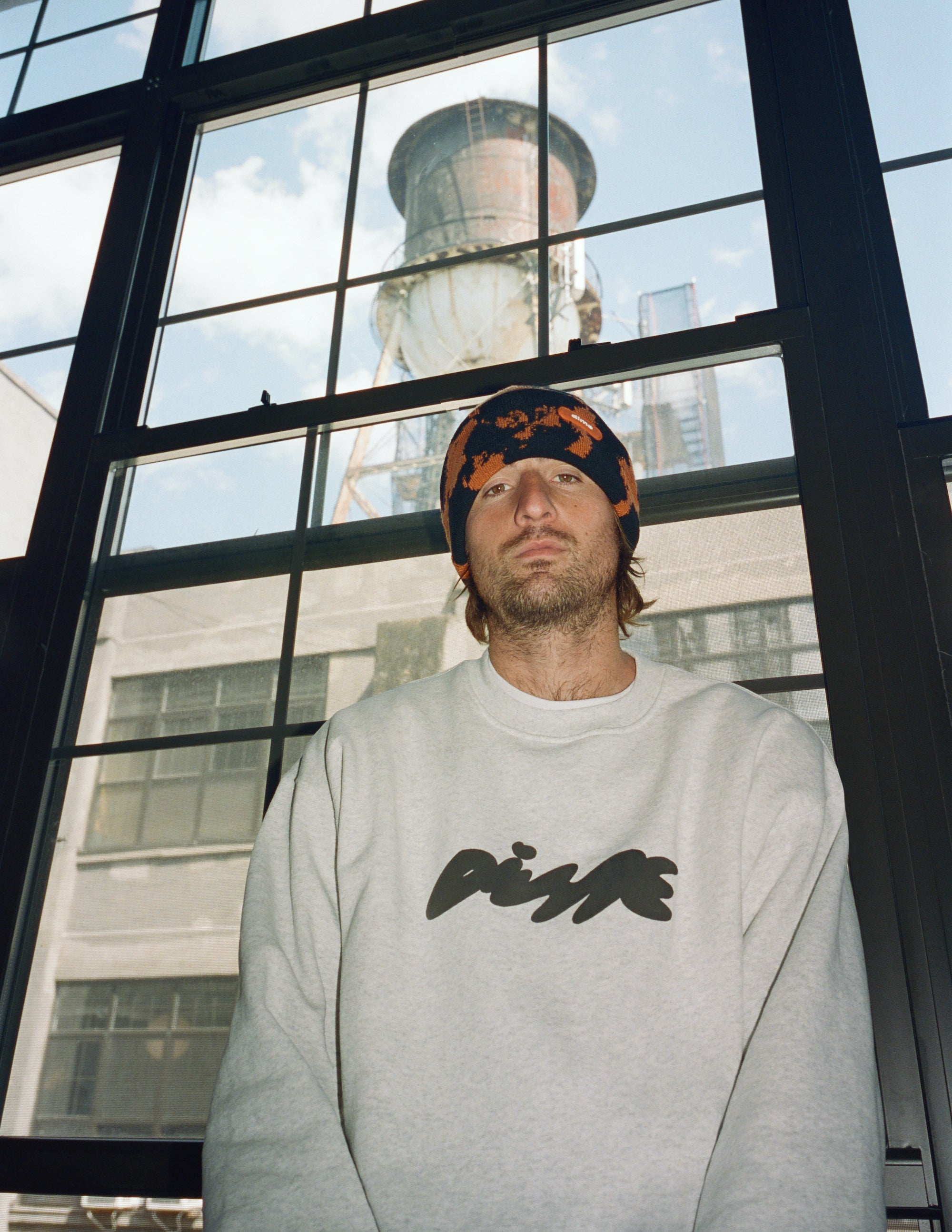 Dime Spring 2021 Lookbook Bubbly Crewneck in Ash Grey styled with Sly Beanie in Orange
