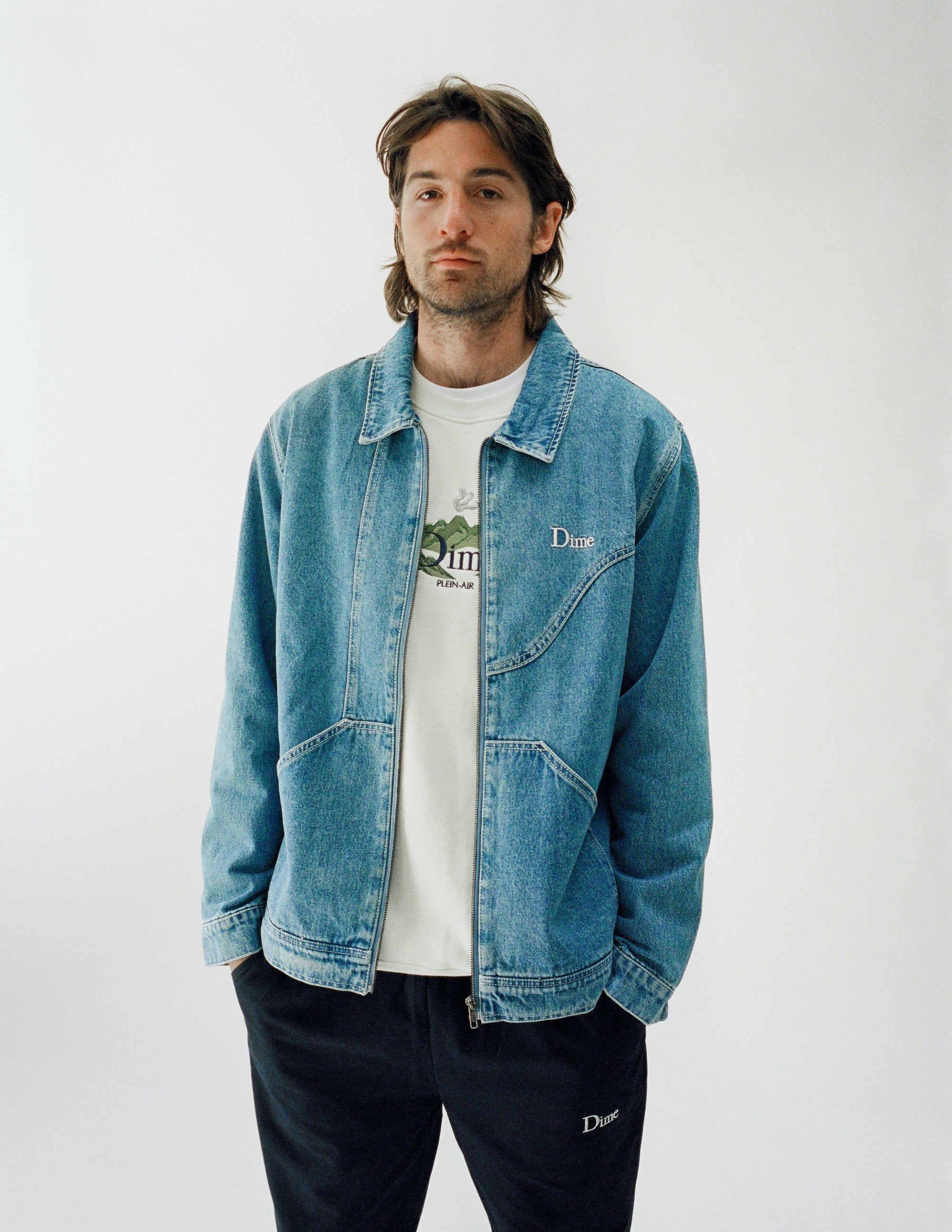 Dime Spring 2021 Lookbook Plein Air Crewneck in Ash Grey styled with Cotton Denim Chore Jacket in Light Wash and Twill Pants in Navy