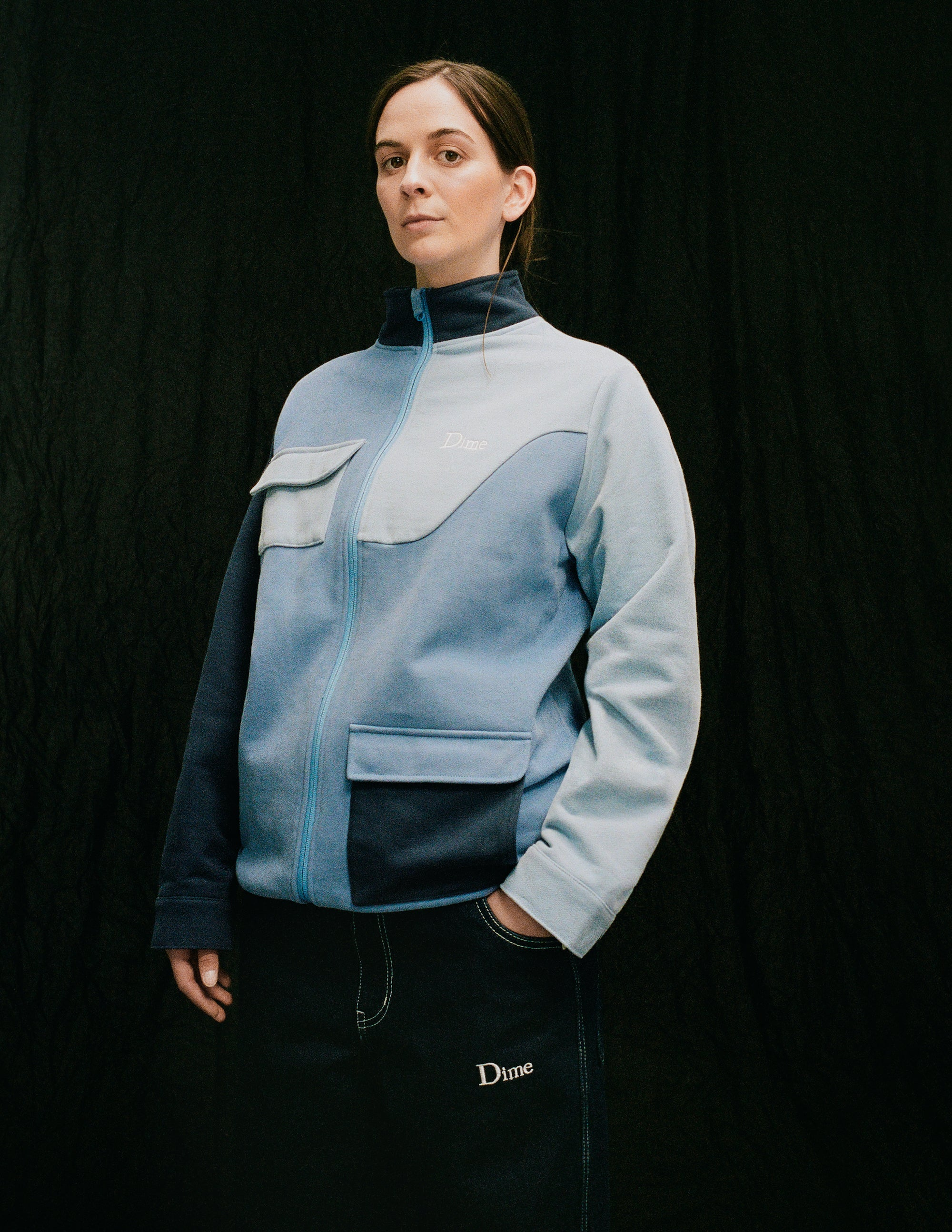 Dime Spring 2021 Lookbook Brushed Cotton Track Jacket in Blue Multi styled with Cotton Denim Pants in Dark Indigo