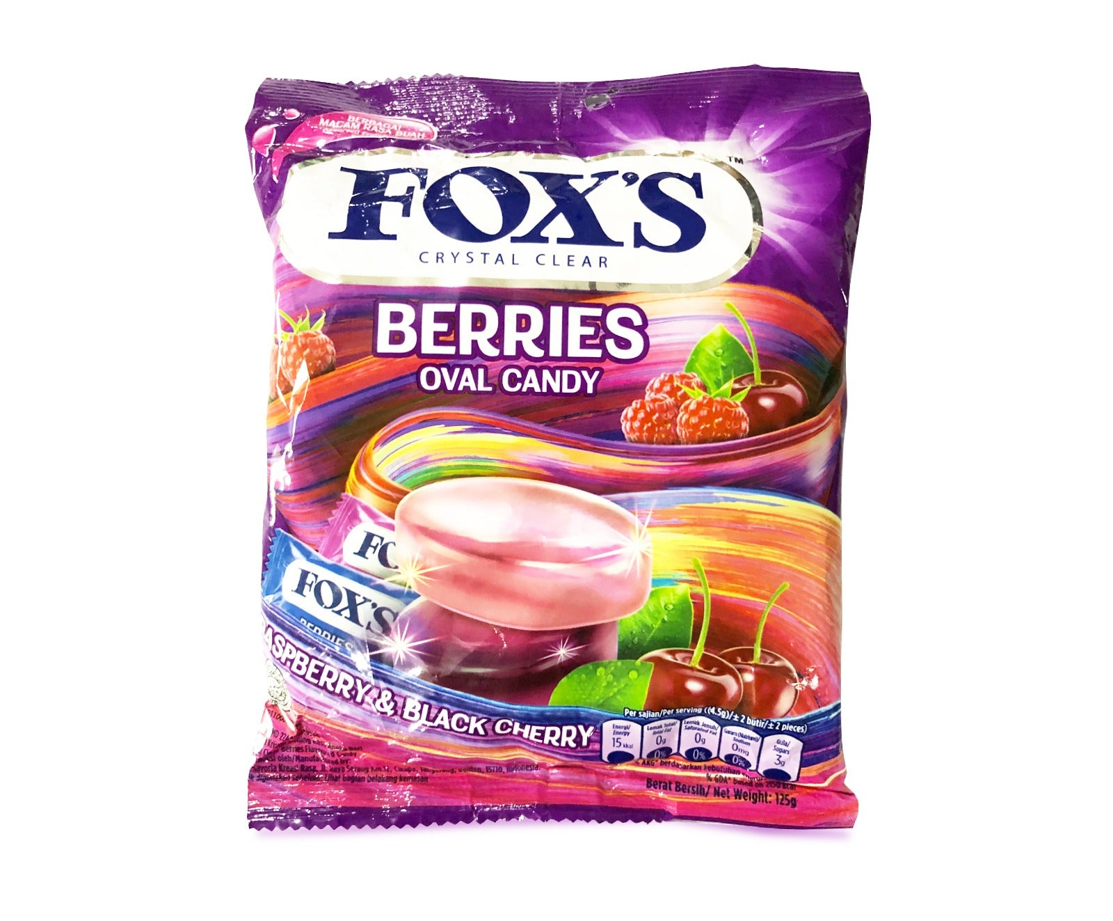Foxs Crystal Clear Sweets - Berries (125g – Piece)