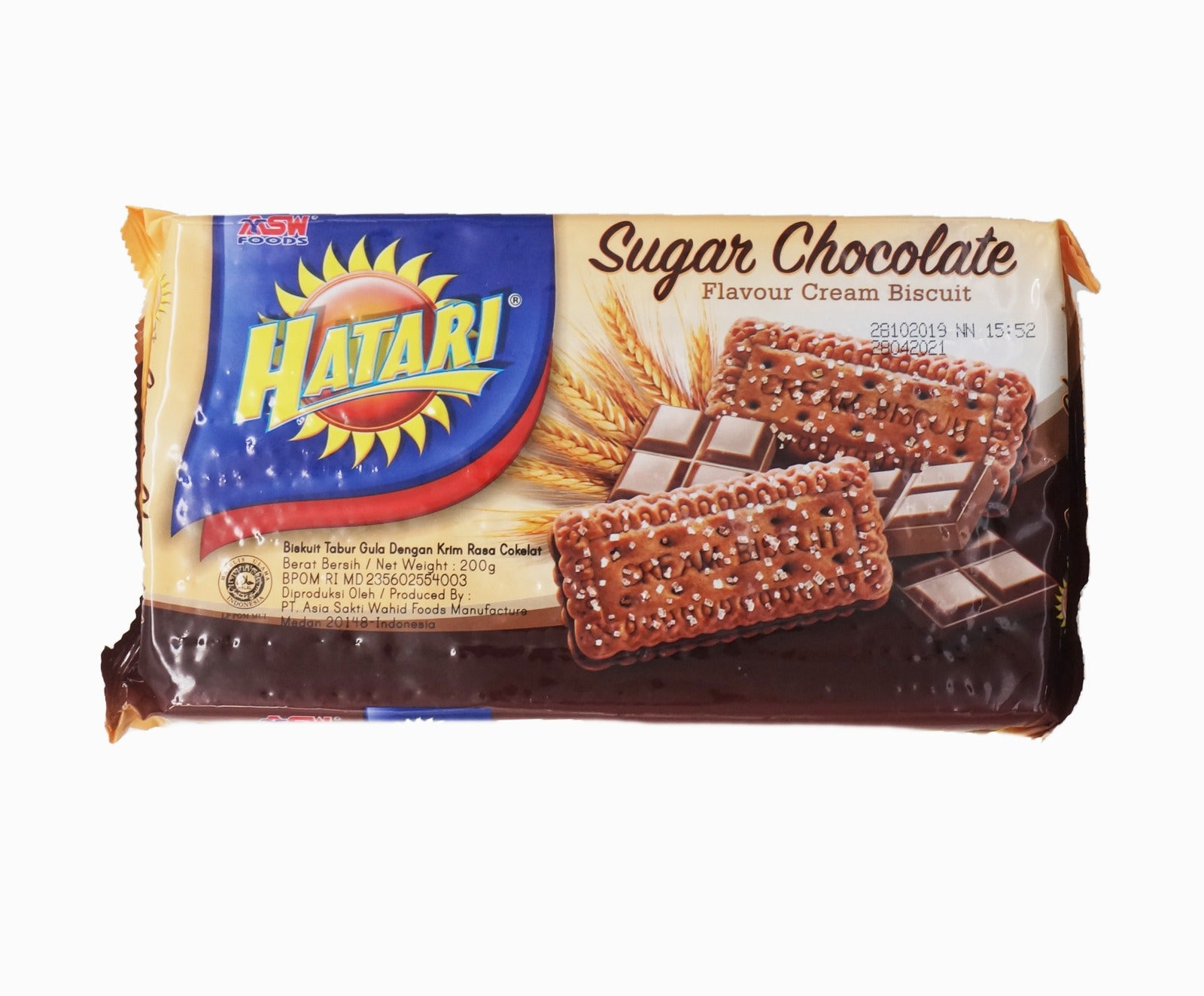 Hatari Cream Biscuit - Chocolate & Sugar (200g – Piece)