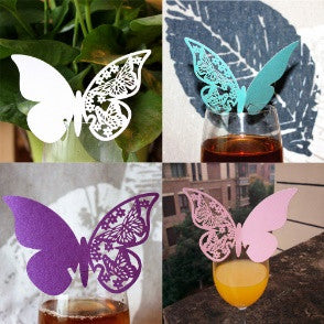 Paper Butterfly Place Escort Wine Glass Cup