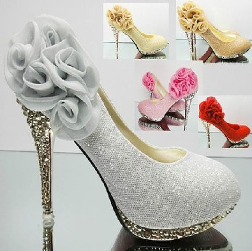 Silver High Heels Shoes Wedding Bridal Women's...