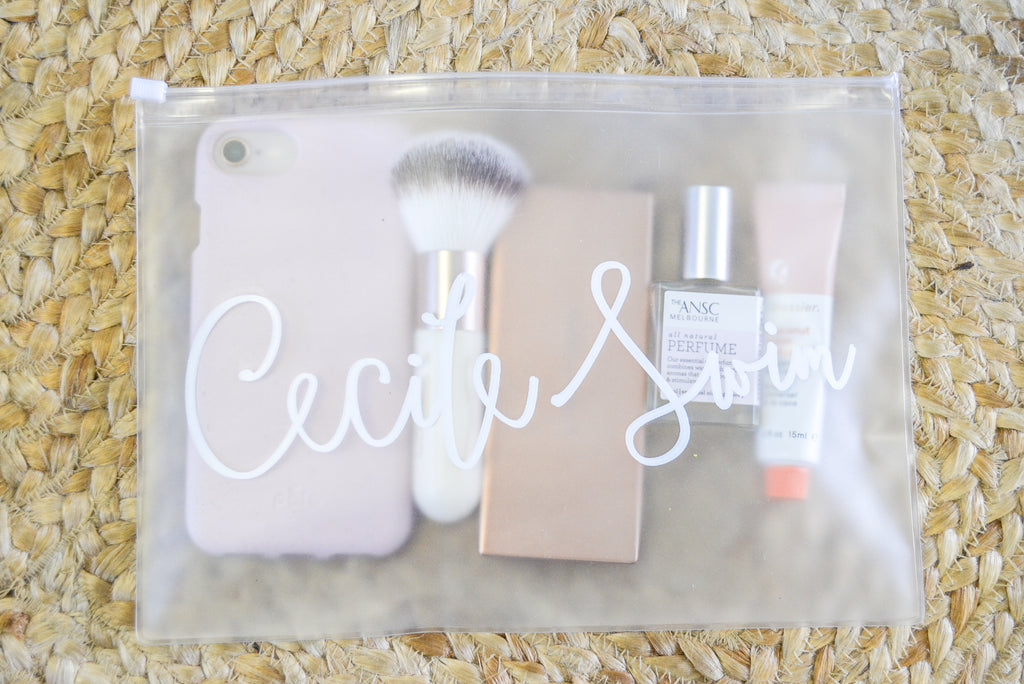 Cecile Swim pouch self care items