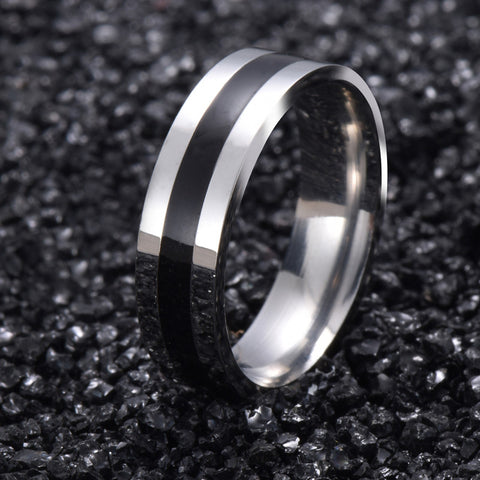 18K White Gold Brushed Titanium Ring