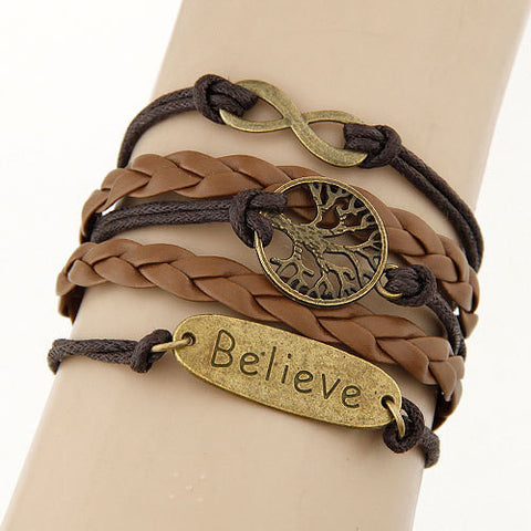 Believe Charm Vintage Multilayer Bracelet