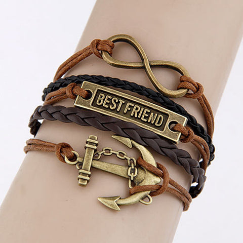 Best Friend Charm Vintage Multilayer Bracelet
