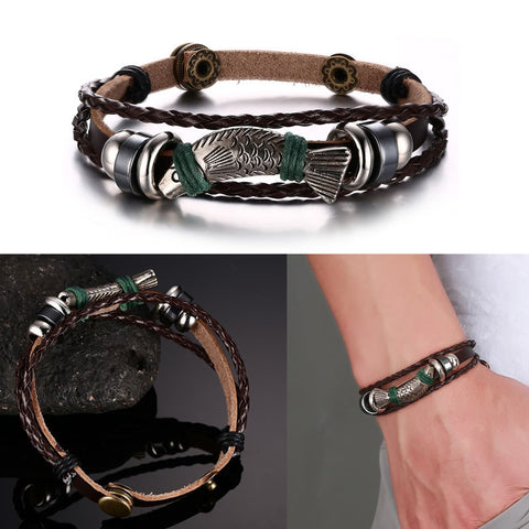 Fish Style Brown Genuine Leather Bracelet Bangle