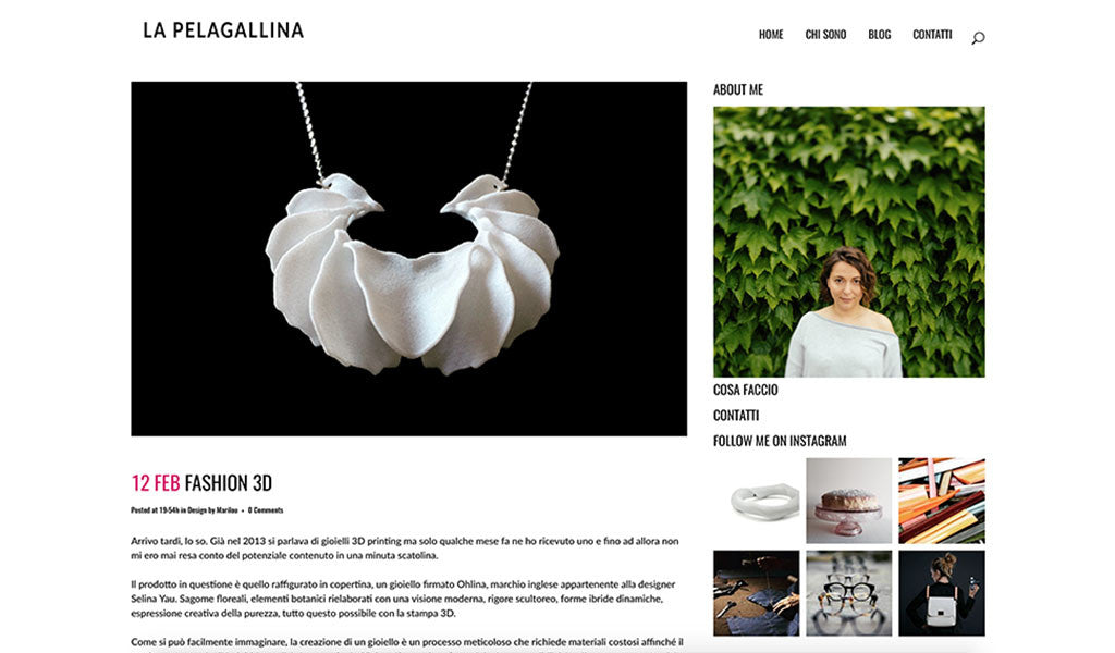 White Calla Swing Necklace featured in the design blog: La Pelagallina | OHLINA — Contemporary 3D Printed Jewellery
