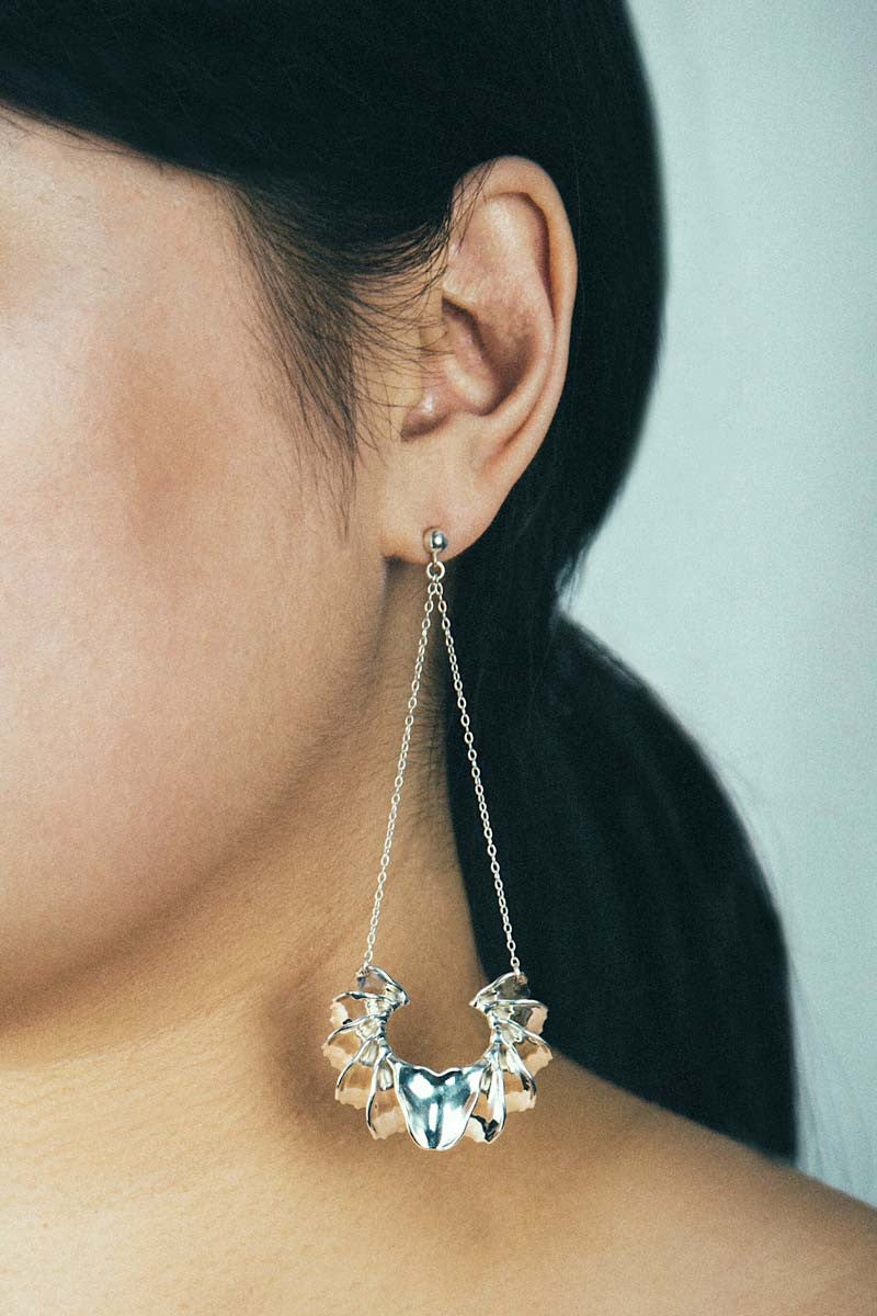 Calla Swing Earrings in Sterling Silver — OHLINA | Contemporary 3D Printed Jewellery