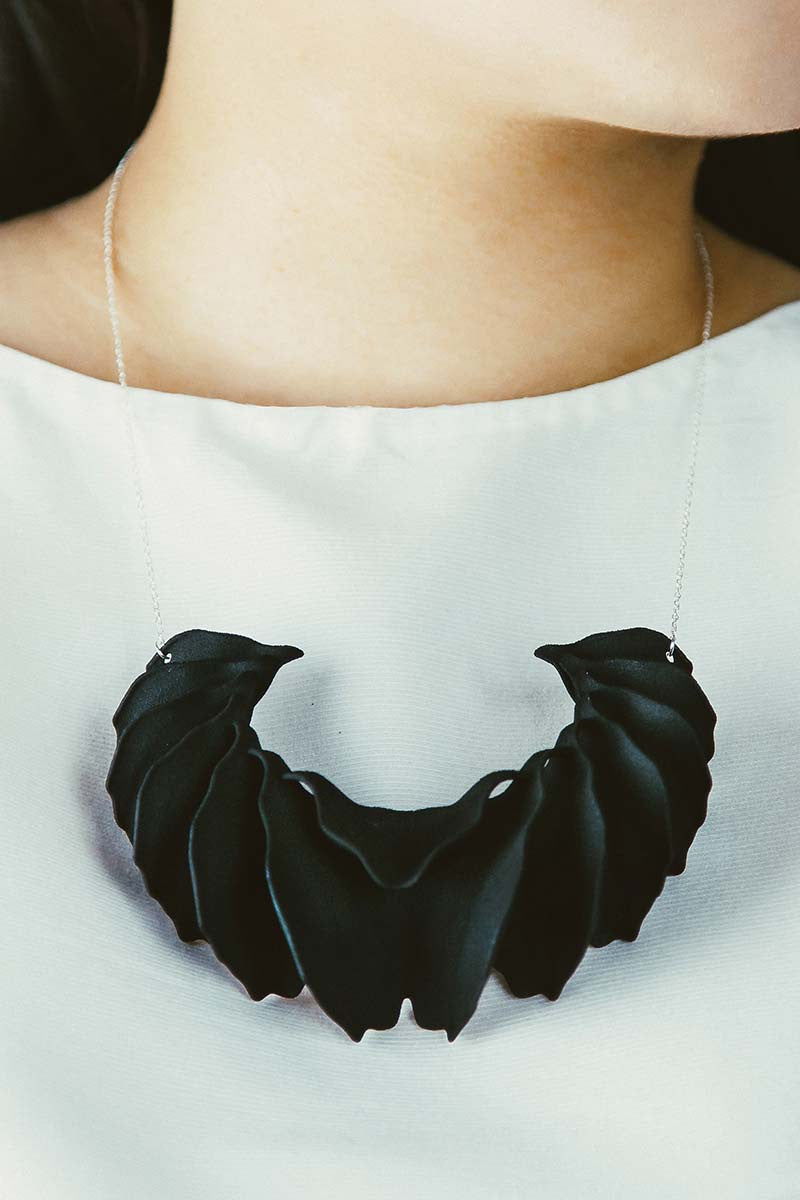 Sculptural Aria 3D Printed Necklace in Velvet Black — OHLINA | Contemporary 3D Printed Jewellery