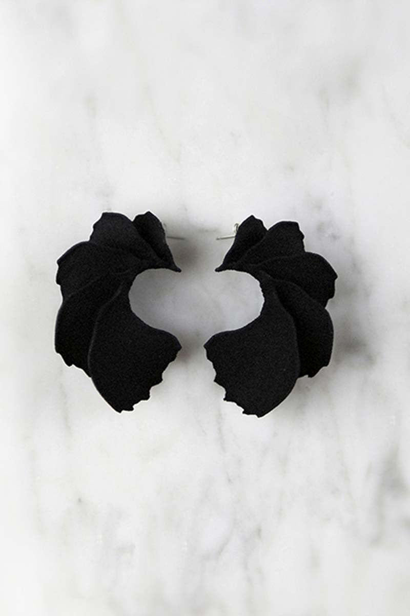 Small Delilah 3D Printed Earrings in Velvet Black — OHLINA | Contemporary 3D Printed Jewellery