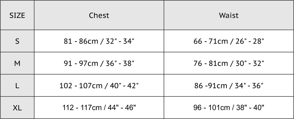 ABSOLUTE 360 Mens Size Chart