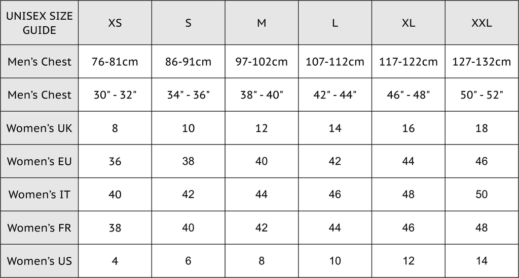 ABSOLUTE 360 Unisex Hoodies & Sweatshirts Size Chart