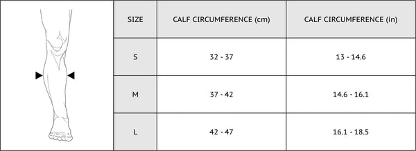 calf sleeves size chart