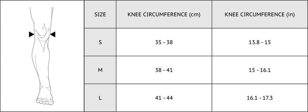 knee support size chart