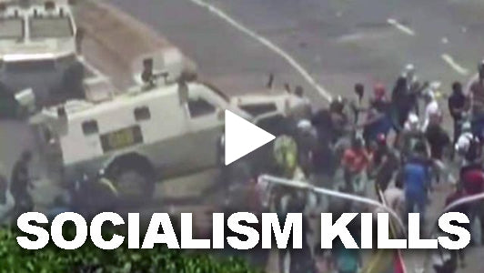 Socialist Venezuelan Government Uses Armored Vehicle to Plow into Crowd