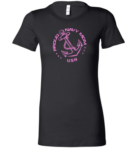 Proud Navy Mom in Pink Ladies Shirt