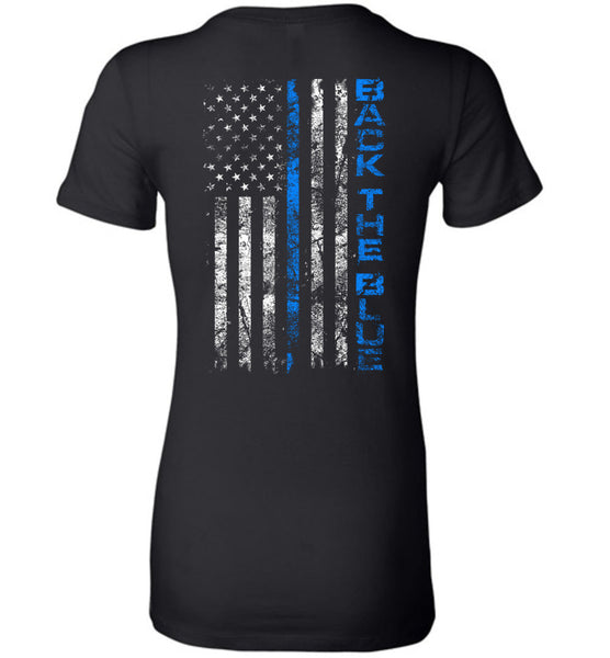 Back The Blue Ladies TShirt - Warrior Code