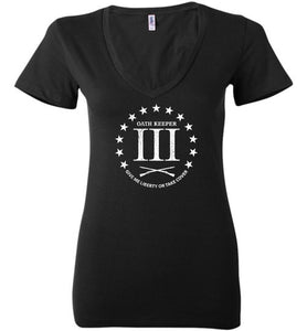 Three Percent Oath Keeper Ladies Deep Vneck - Warrior Code