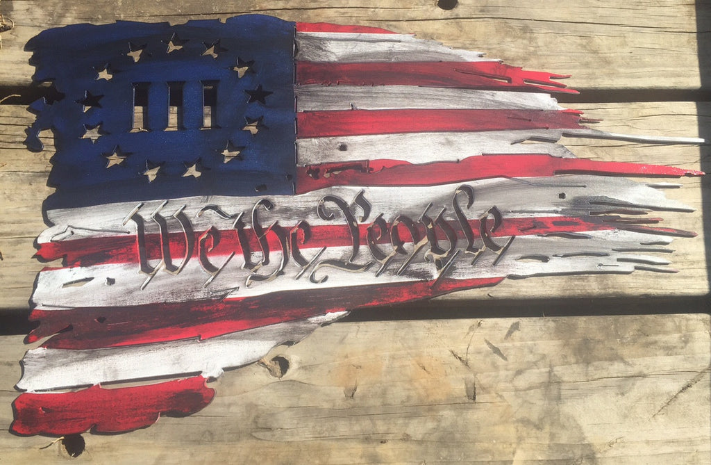 "Three Percenter Metal Flag 14"" x 24"""