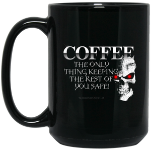 Coffee Keeps YOU Safe 15 oz. Black Mug - Warrior Code