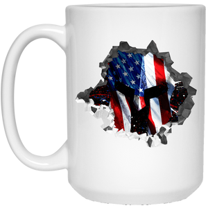 Patriotic Coffee Mug with Flag covered Spartan Helmet