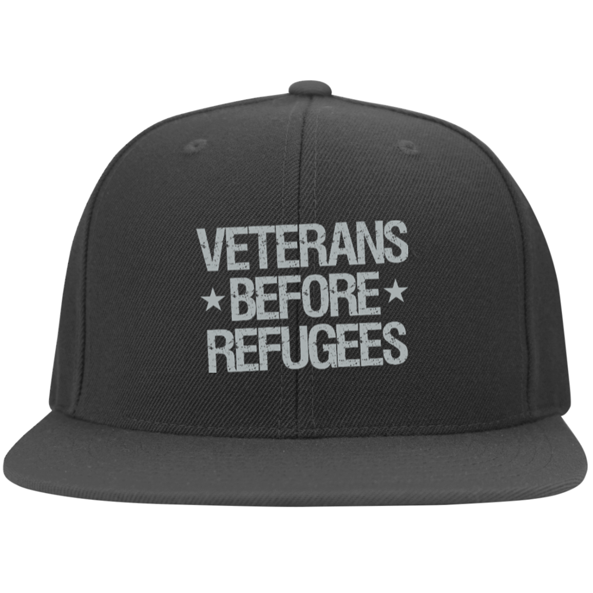 Veterans Before Refugees Flat Bill Flexfit Cap - Warrior Code