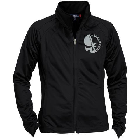Skull & Gun Embroidered Ladies Raglan Sleeve Warmup Jacket - Warrior Code