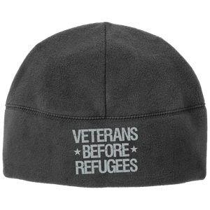 Veterans Before Refugees Fleece Beanie - Warrior Code