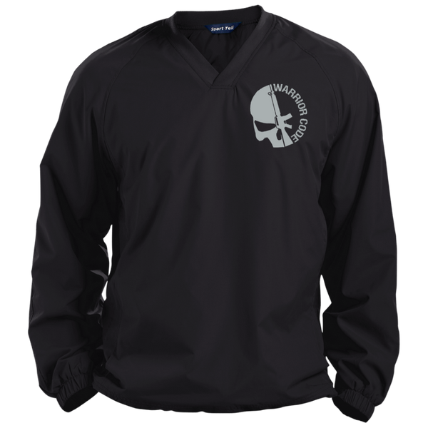 Skull & Gun Embroidered Tall Pullover V-Neck Windshirt