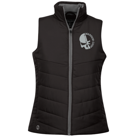 Skull & Gun Embroidered Ladies Quilted Vest - Warrior Code