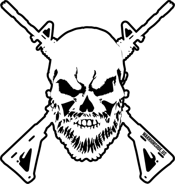 Bearded Skull & Guns Decal