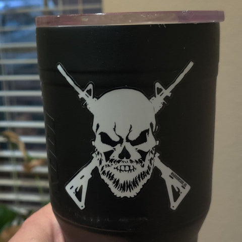 "Bearded Skull & Guns 3"" Decal"