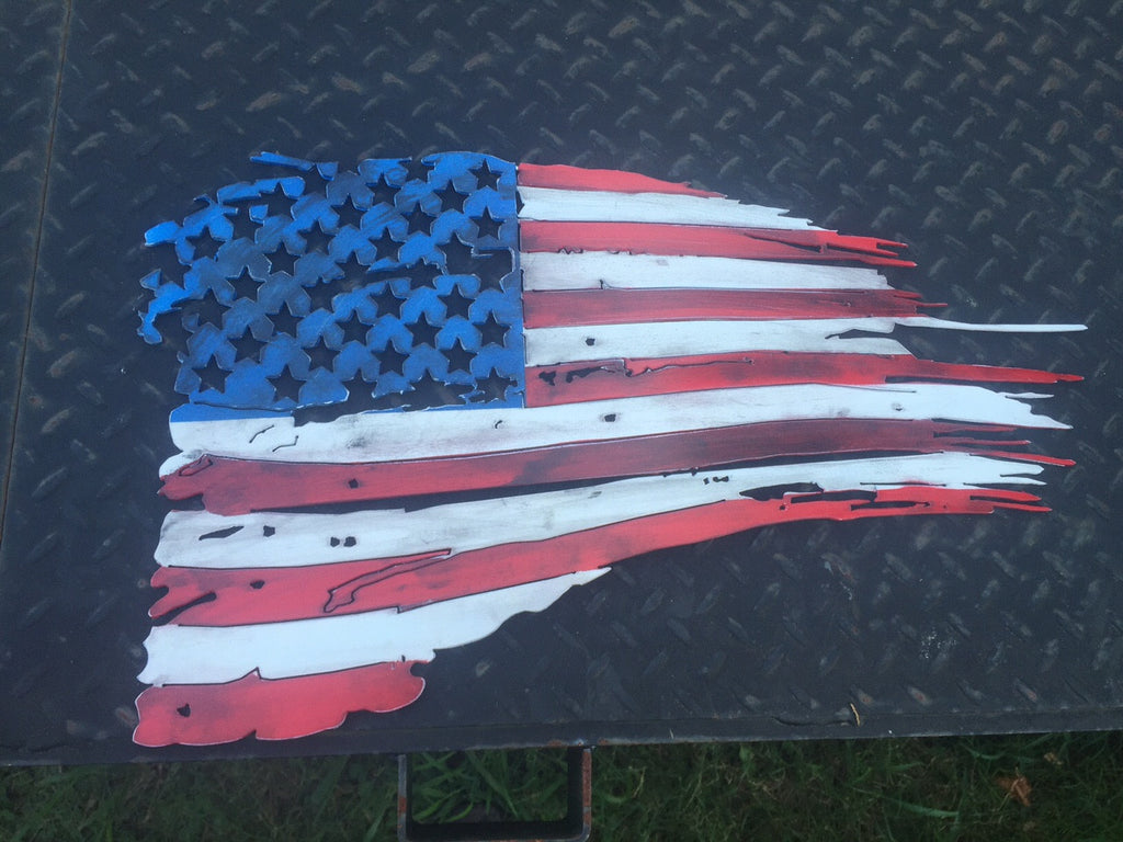 "Tattered Metal American Flag 14"" x 24"""