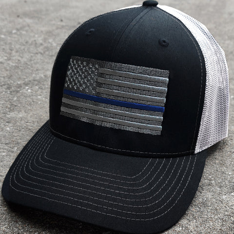 Thin Blue Line Cap (Black / White)