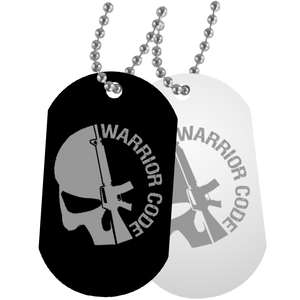 Warrior Code Skull & Gun Dog Tags - Warrior Code