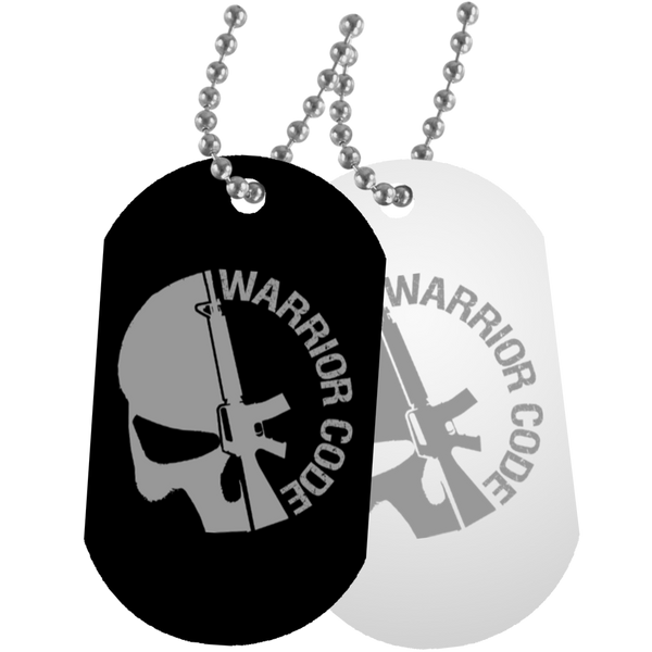 Warrior Code Skull & Gun Dog Tags