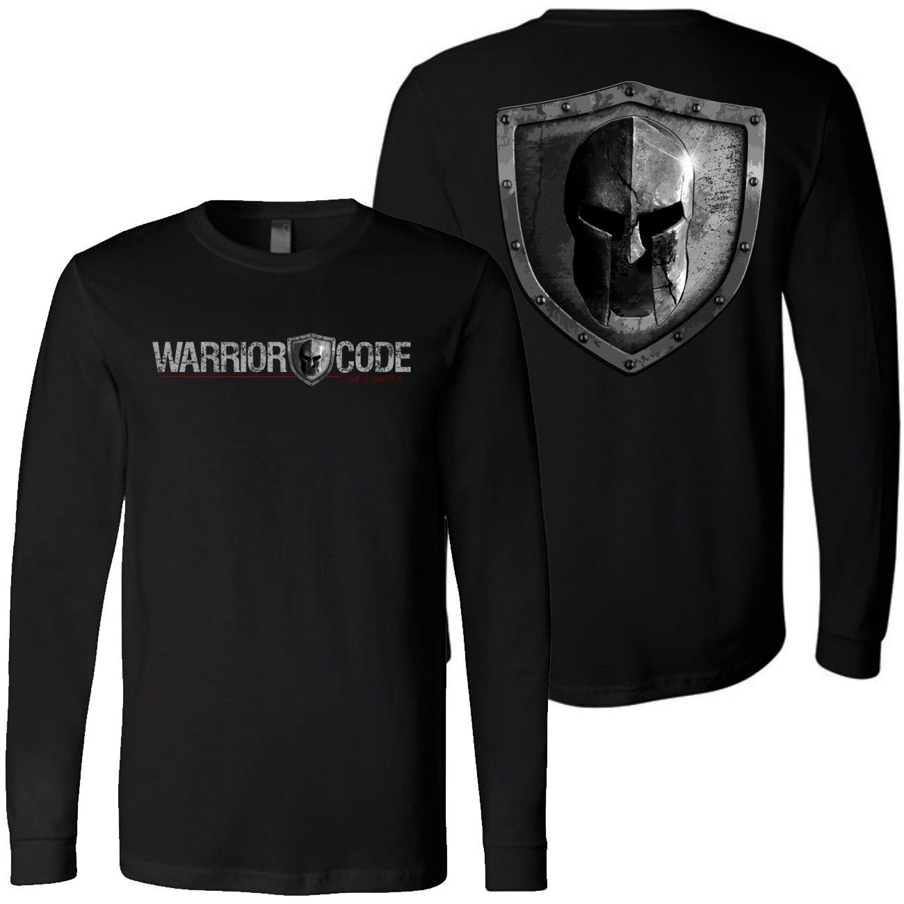 Warrior Code Logo and Shield Long Sleeve Tshirt - Warrior Code
