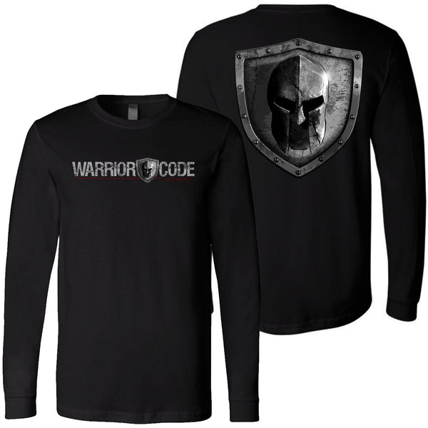 Warrior Code Logo and Shield Long Sleeve Tshirt
