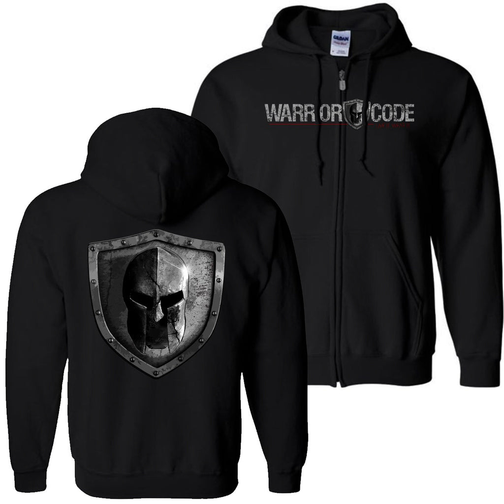 Warrior Code Logo and Shield Zip Hoodie