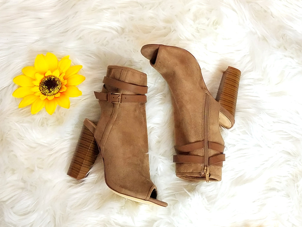 Strap Me In Wrap Around Ankle Peep Toe Booties