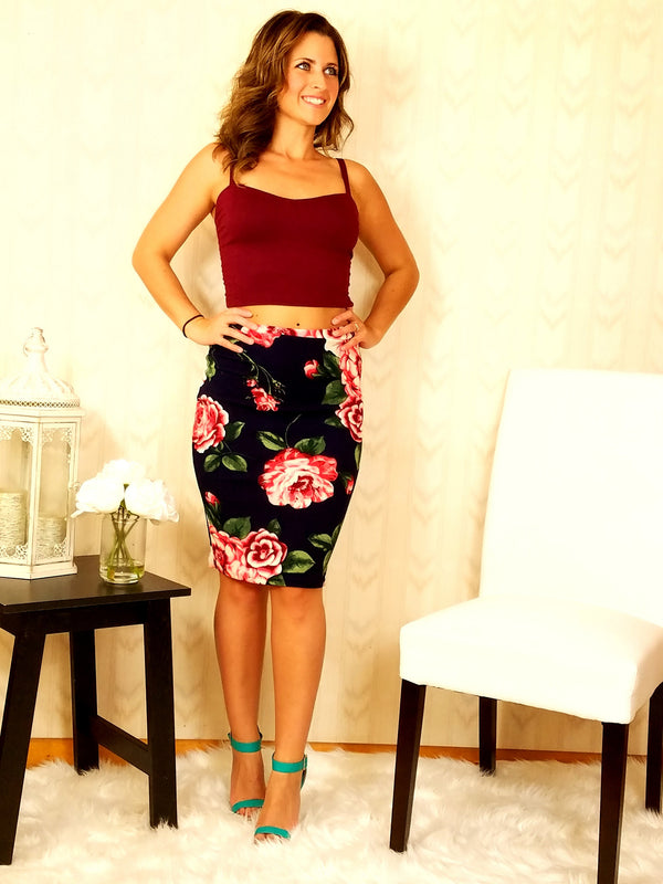 Fabulous in Floral Pencil Skirt